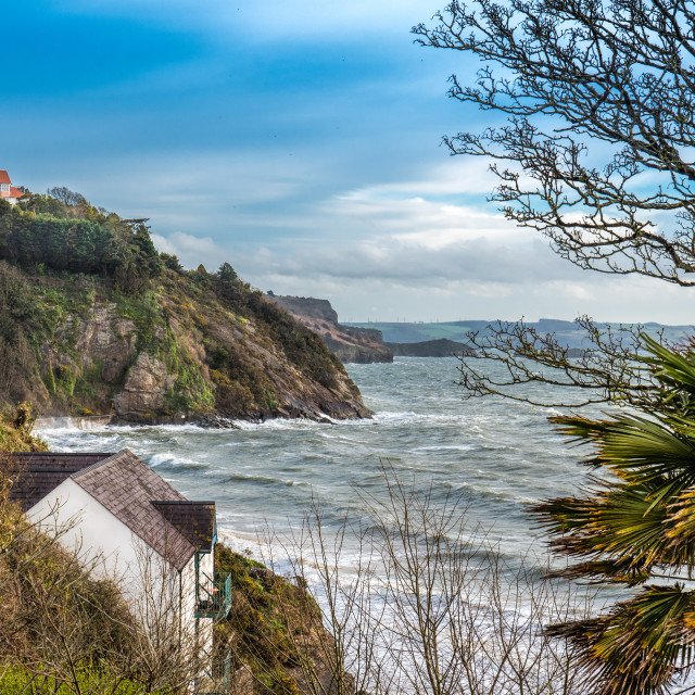 """Shoreline and rugged coastline in Tenby UK"" stock image"