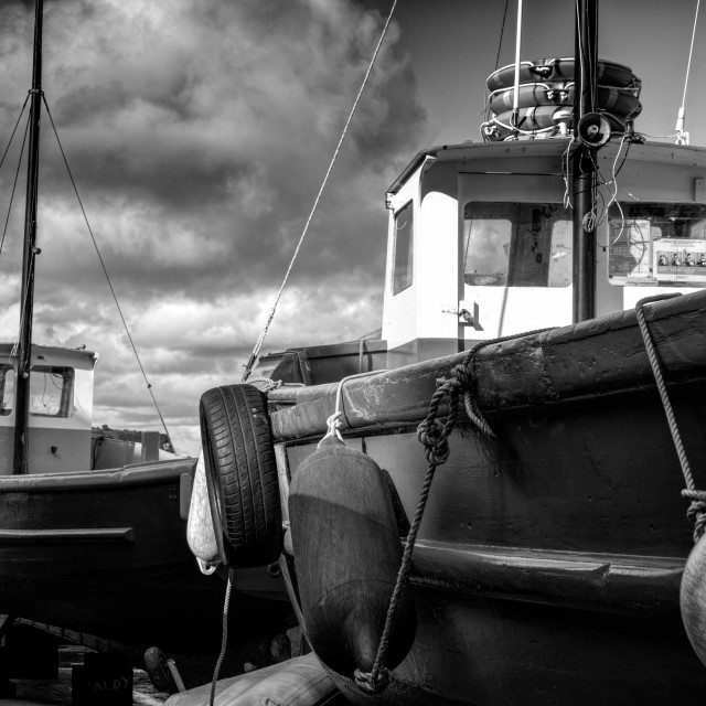 """Fishing boats at the seaside"" stock image"