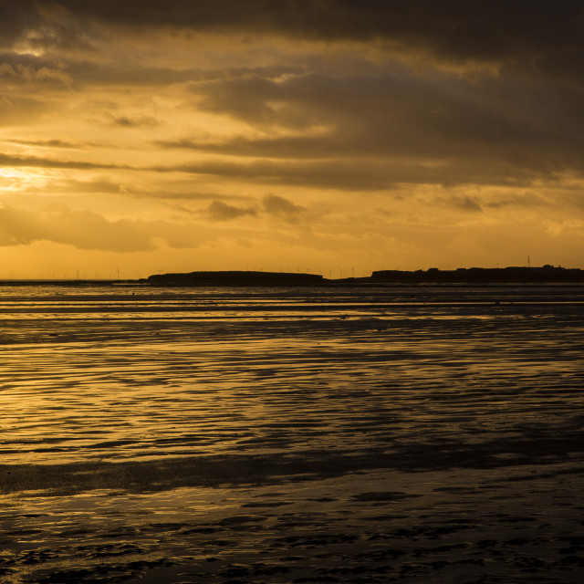 """Golden Hour Hilbre Island Silhouette"" stock image"