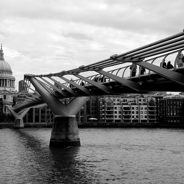 """Commute Across Millennium Bridge (B&W)"" stock image"