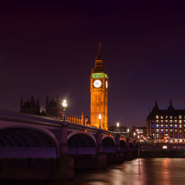 """Big Ben, Westminstrer Bridge and the Thames"" stock image"