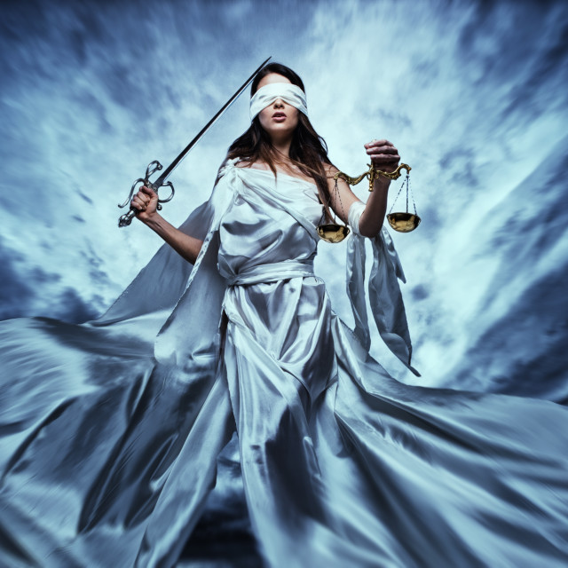 """""""Femida, Goddess of Justice, with scales and sword wearing blindfold against..."""" stock image"""