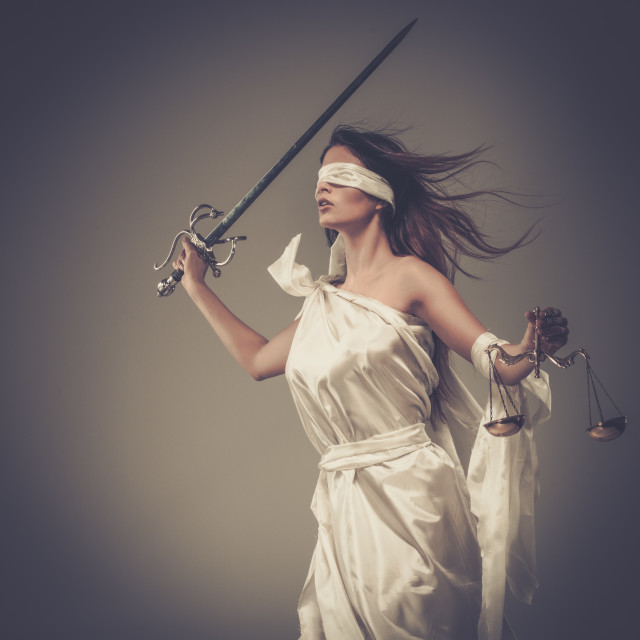 """""""Femida, Goddess of Justice, with scales and sword wearing blindfold"""" stock image"""