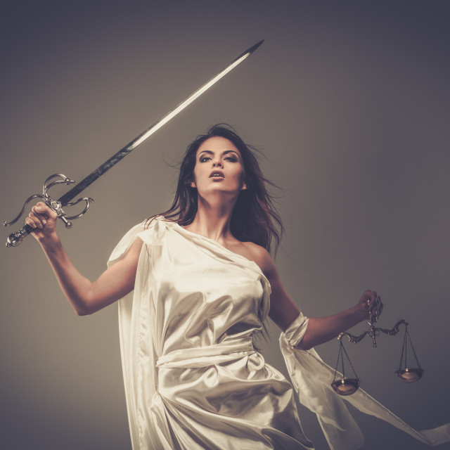 """""""Femida, Goddess of Justice, with scales and sword"""" stock image"""
