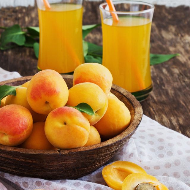"""""""ripe apricots and apricot juice"""" stock image"""