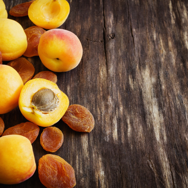 """fresh and dried apricots"" stock image"