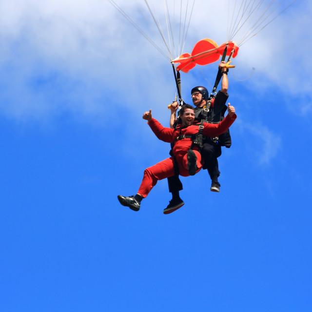 """Joy of first parachute jump"" stock image"