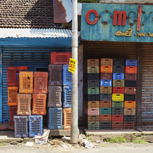 """Crates of colour"" stock image"
