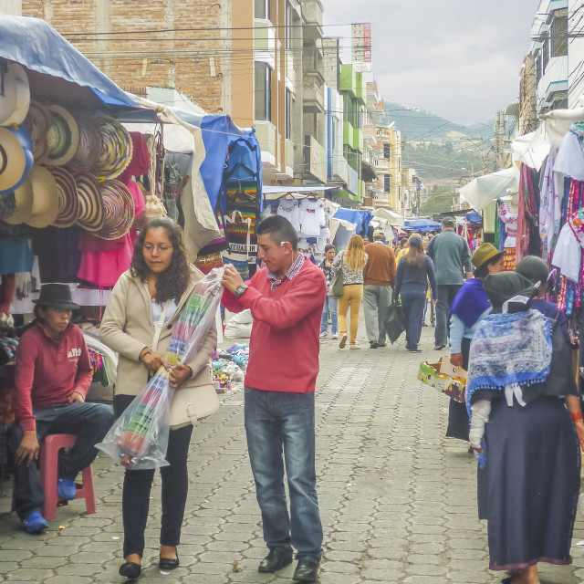 """Ecuador Otavalo City Cloth Market"" stock image"