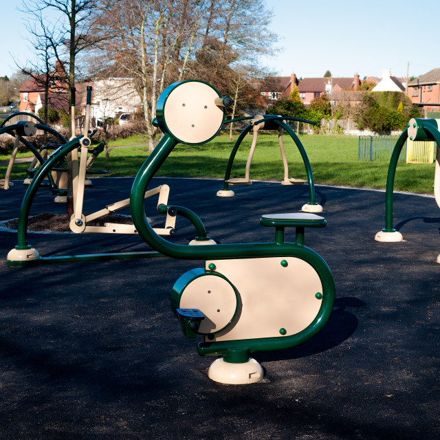 """""""Outdoor exercise equipment"""" stock image"""