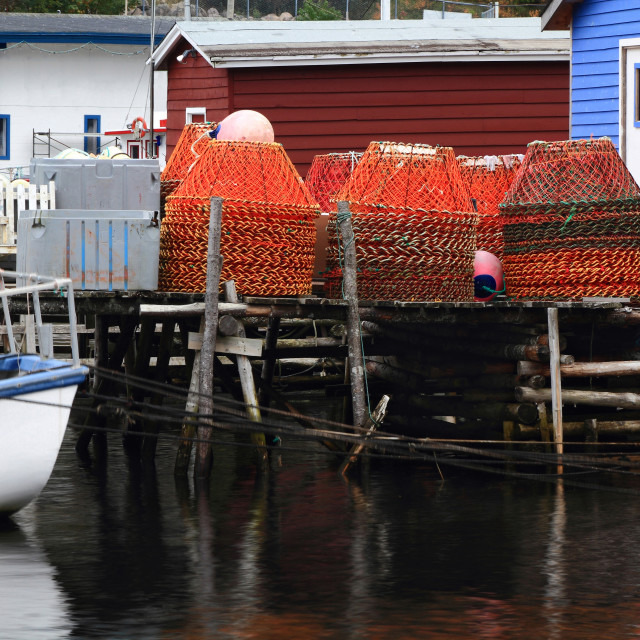 """""""Pile of crab nets on the dock."""" stock image"""