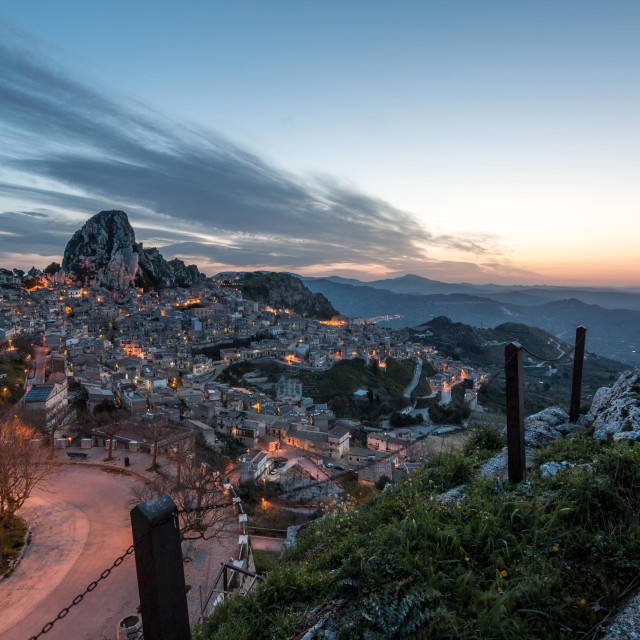 """Caltabellotta, Sicily, at dawn"" stock image"