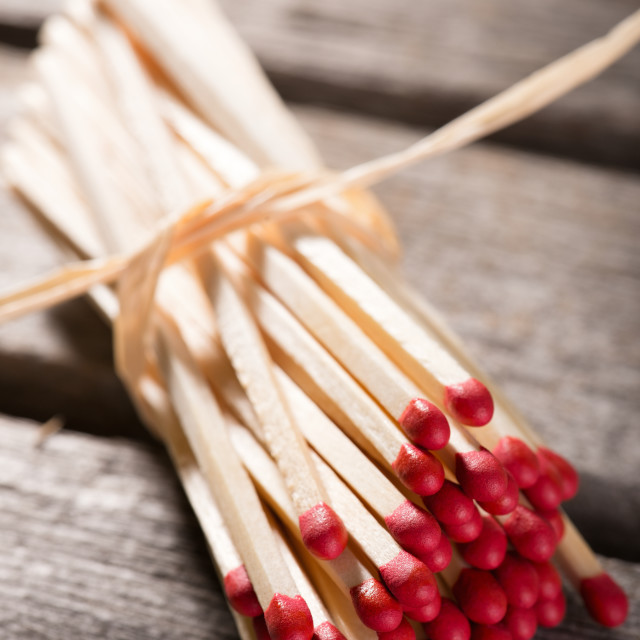 """Bunch of matchsticks bonded by piece of straw"" stock image"
