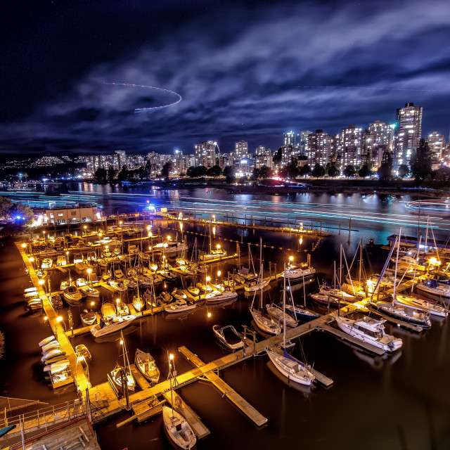 """Marina at Night"" stock image"