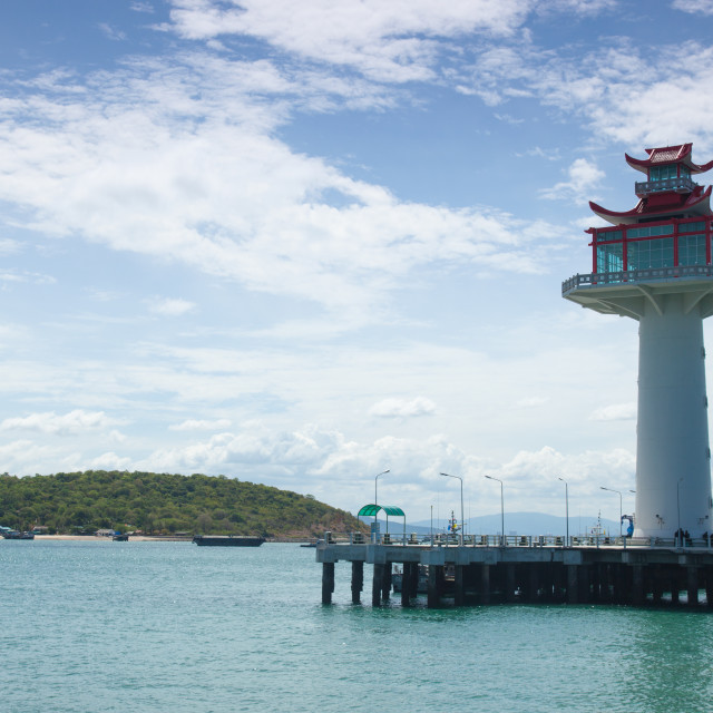 """""""Lighthouse in the harbor."""" stock image"""