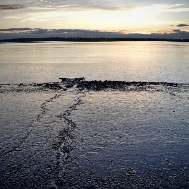"""Tide Out at Sunset"" stock image"