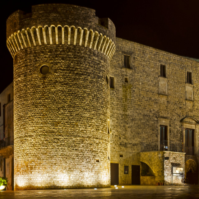 """""""Overview Night of Conversano Square and the Norman castle tower. Puglia - Italy"""" stock image"""