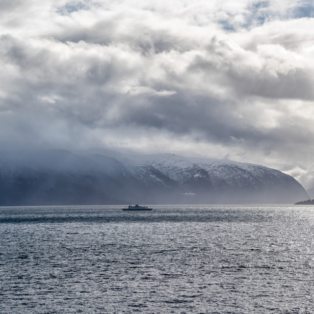 """Ferry in fjord"" stock image"