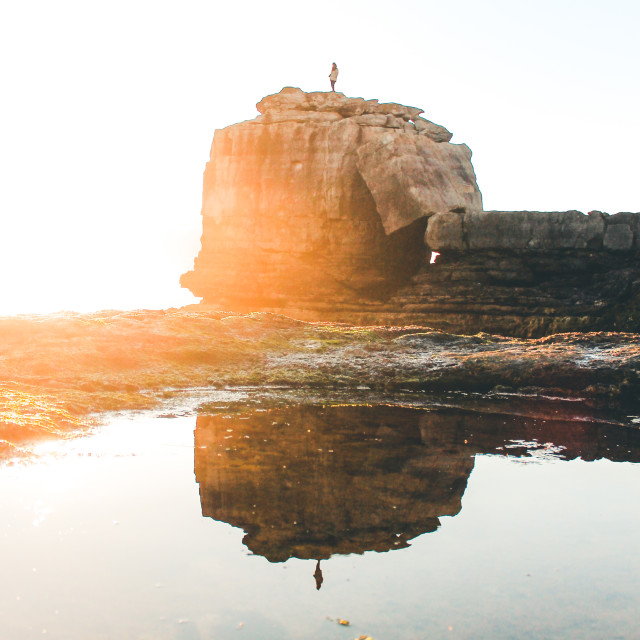 """""""Pulpit Rock / Reflection"""" stock image"""
