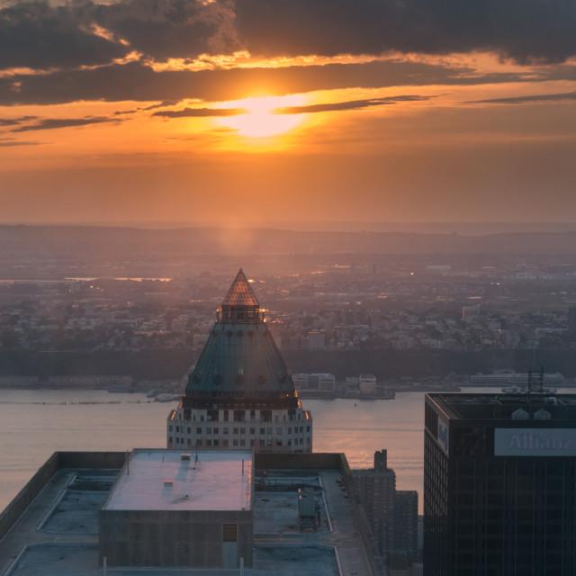 """Sunset on top off Rockefeller center"" stock image"