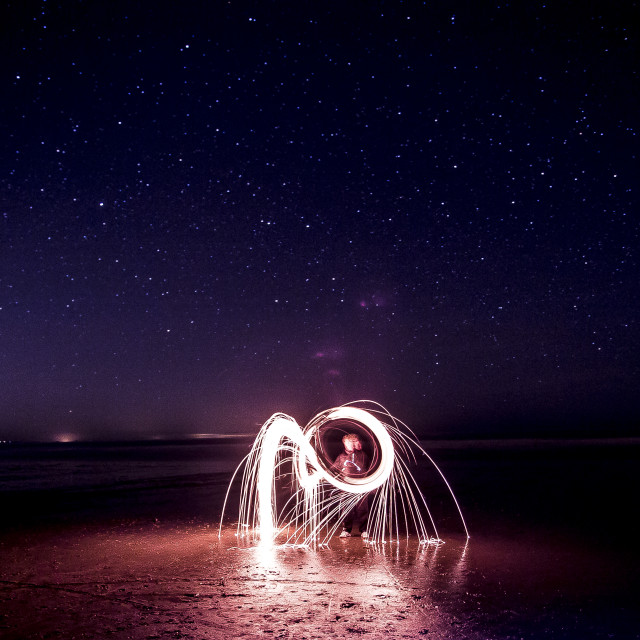 """""""Wire-wool Burning under the night sky"""" stock image"""