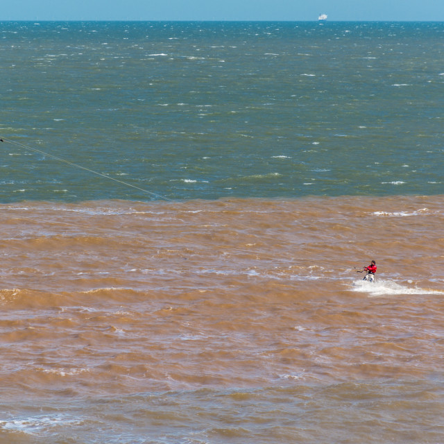 """""""Kitesurfer heads out to Sea"""" stock image"""