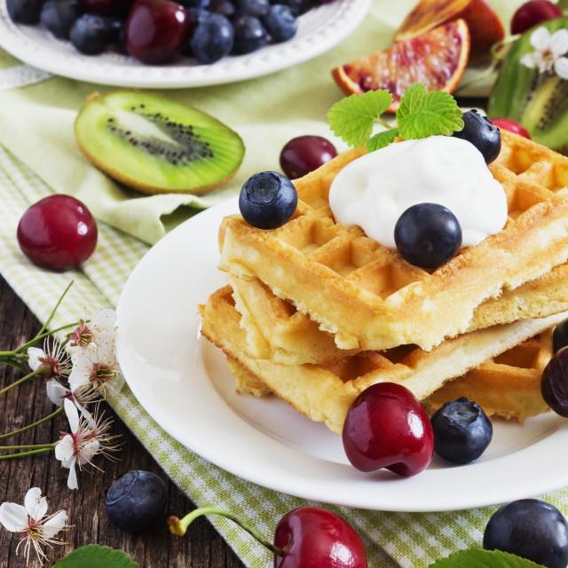 """""""freshly baked sweet waffles"""" stock image"""