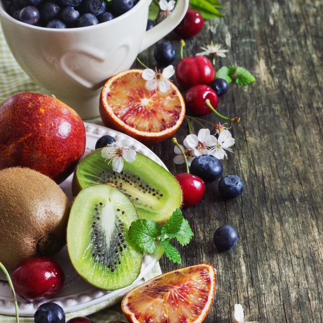 """different fruits and berries"" stock image"
