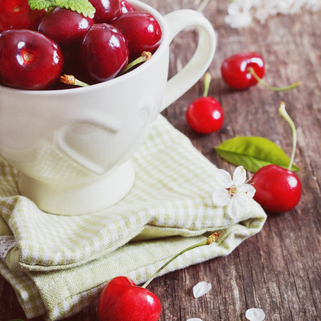 """sweet cherry in a mug"" stock image"