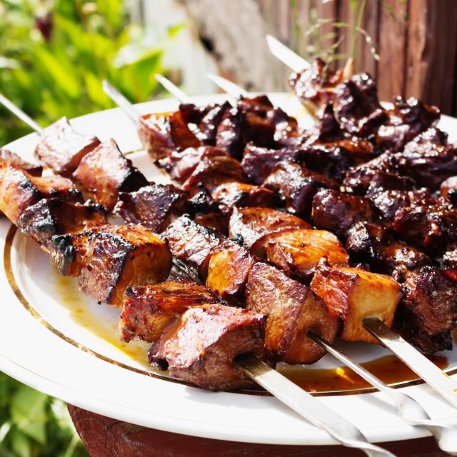 """shish kebab on metal skewers"" stock image"