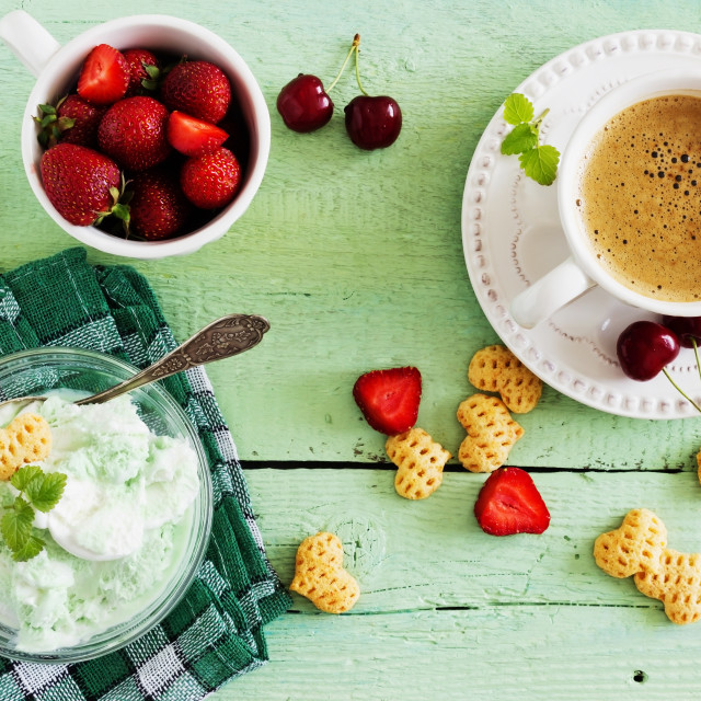 """homemade ice cream of mint"" stock image"
