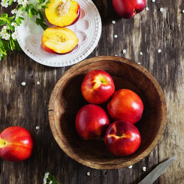 """ripe juicy nectarines"" stock image"