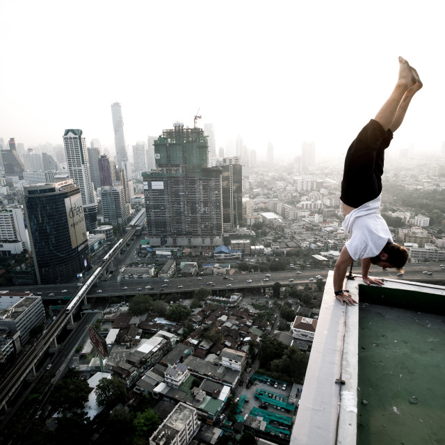 """Balance over Bangkok"" stock image"