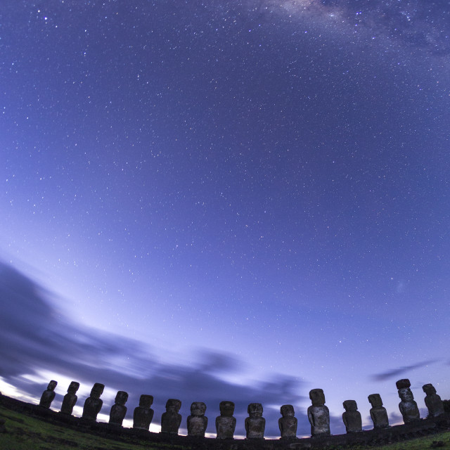 """Moai under the stars"" stock image"
