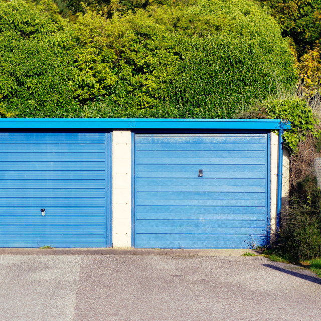 """""""Blue garage doors"""" stock image"""