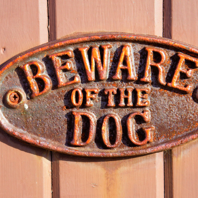 """Beware of the dog"" stock image"