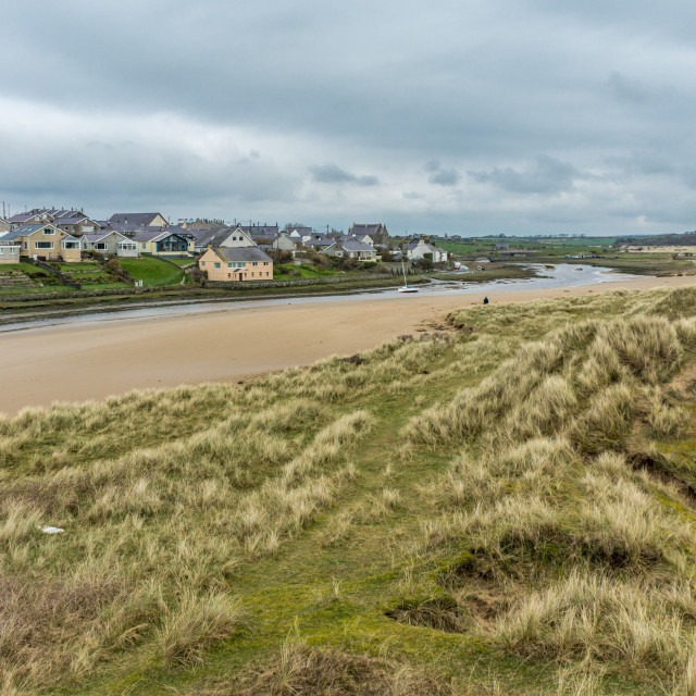 """""""Aberffraw from the Dunes"""" stock image"""