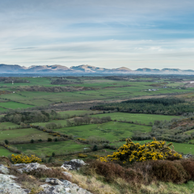 """""""Panorama - Anglesey Plains and Snowdonia"""" stock image"""