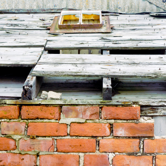 """Part of a dilapidated roof"" stock image"