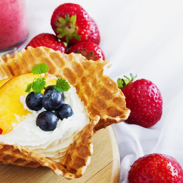 """creamy dessert with fruit"" stock image"