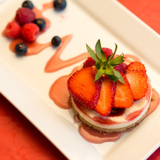 """Mixed fruit cheesecake"" stock image"
