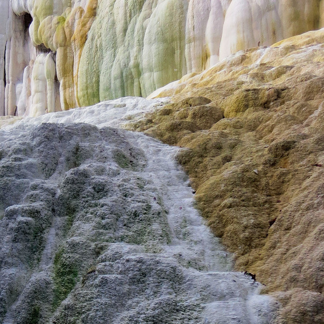 """Coloured travertine falls"" stock image"