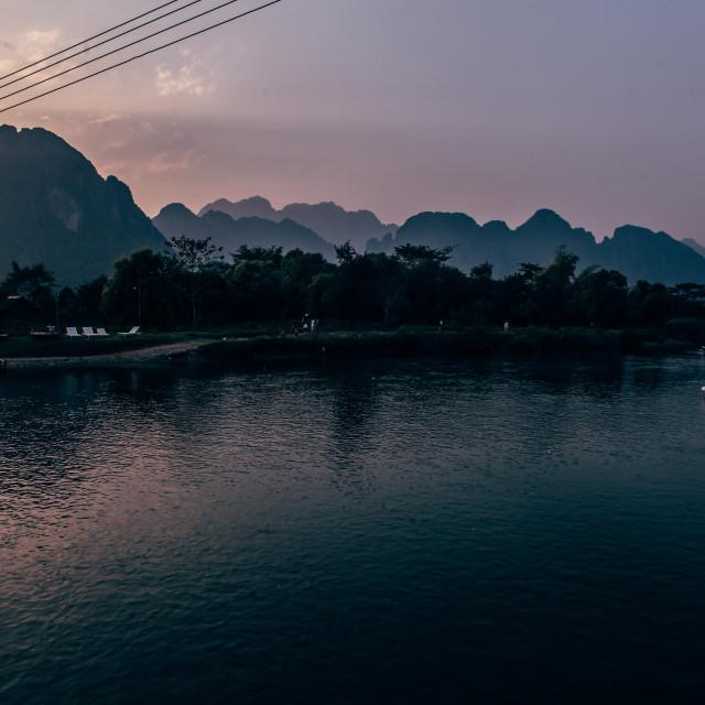 """""""Vang Vieng River"""" stock image"""