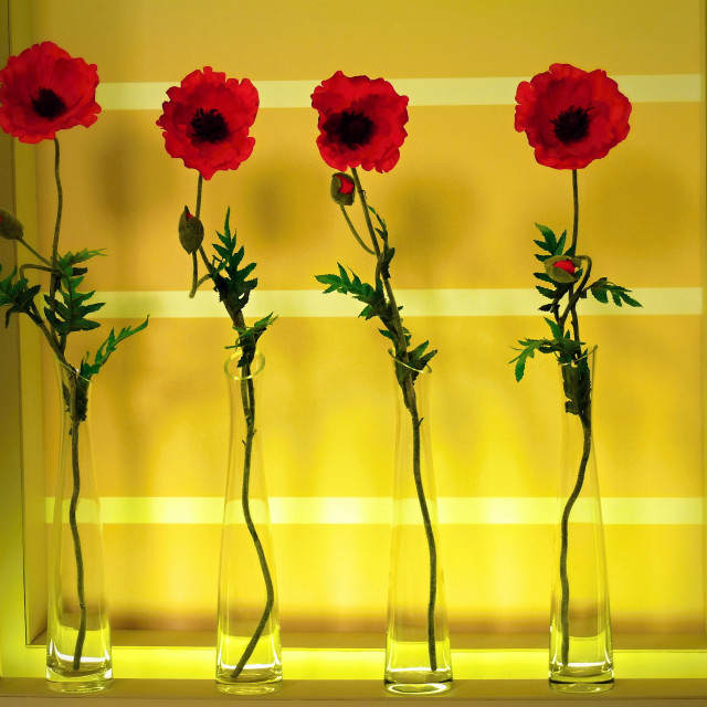 """""""artificial poppy flowers"""" stock image"""