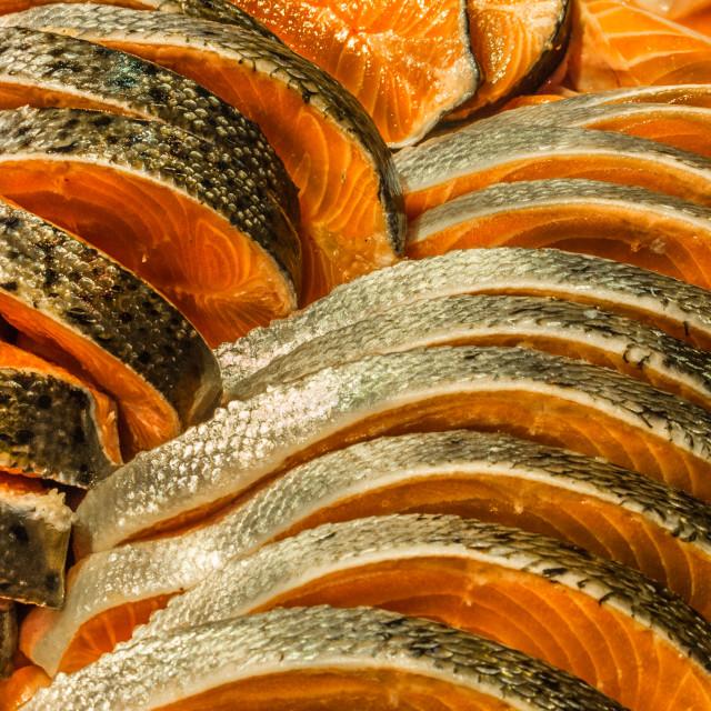 """""""Freshed sliced salmon"""" stock image"""