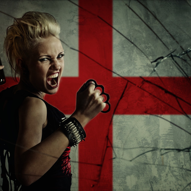 """Punk girl with Molotov cockatail against England flag."" stock image"