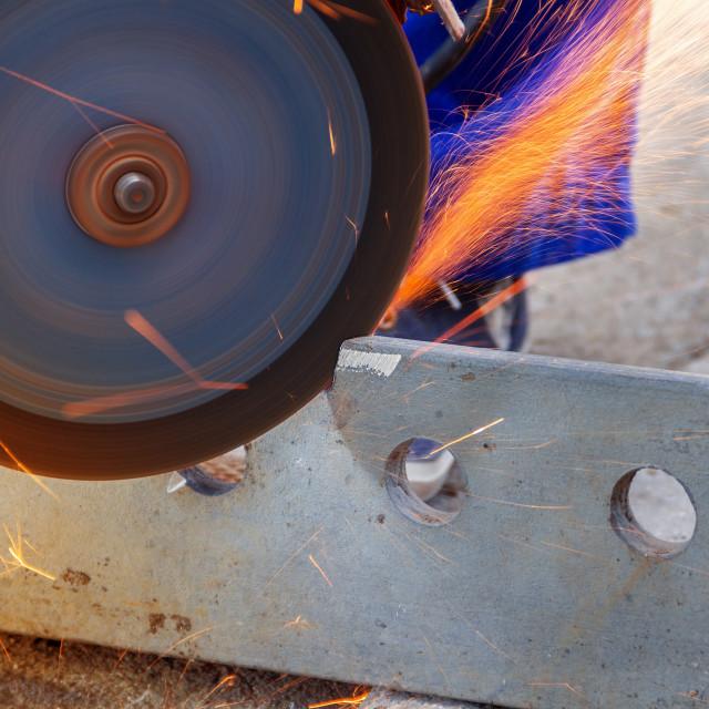"""Angle grinder cutting metal"" stock image"
