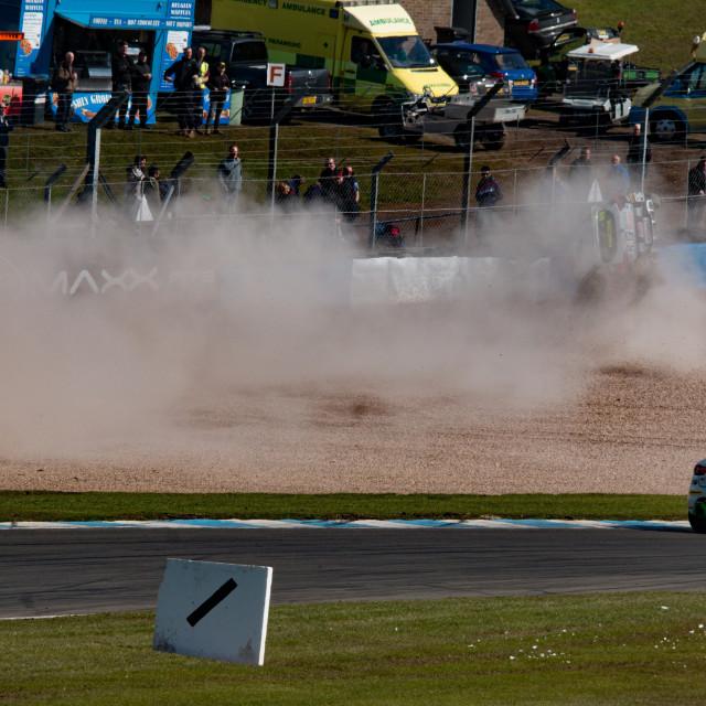 """""""Clio Cup No66 Proctor crash"""" stock image"""