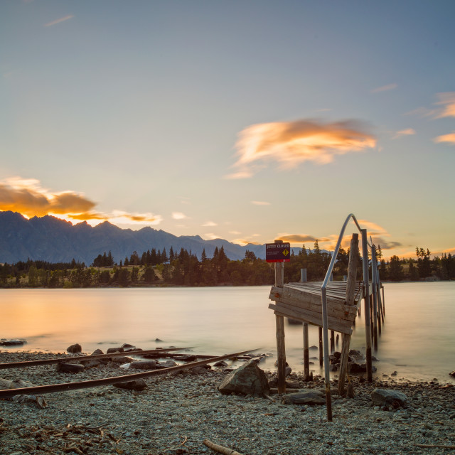 """Lake Wakatipu at Dawn"" stock image"