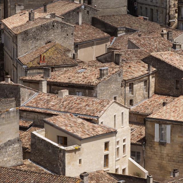 """St Emillion Roof Tops"" stock image"
